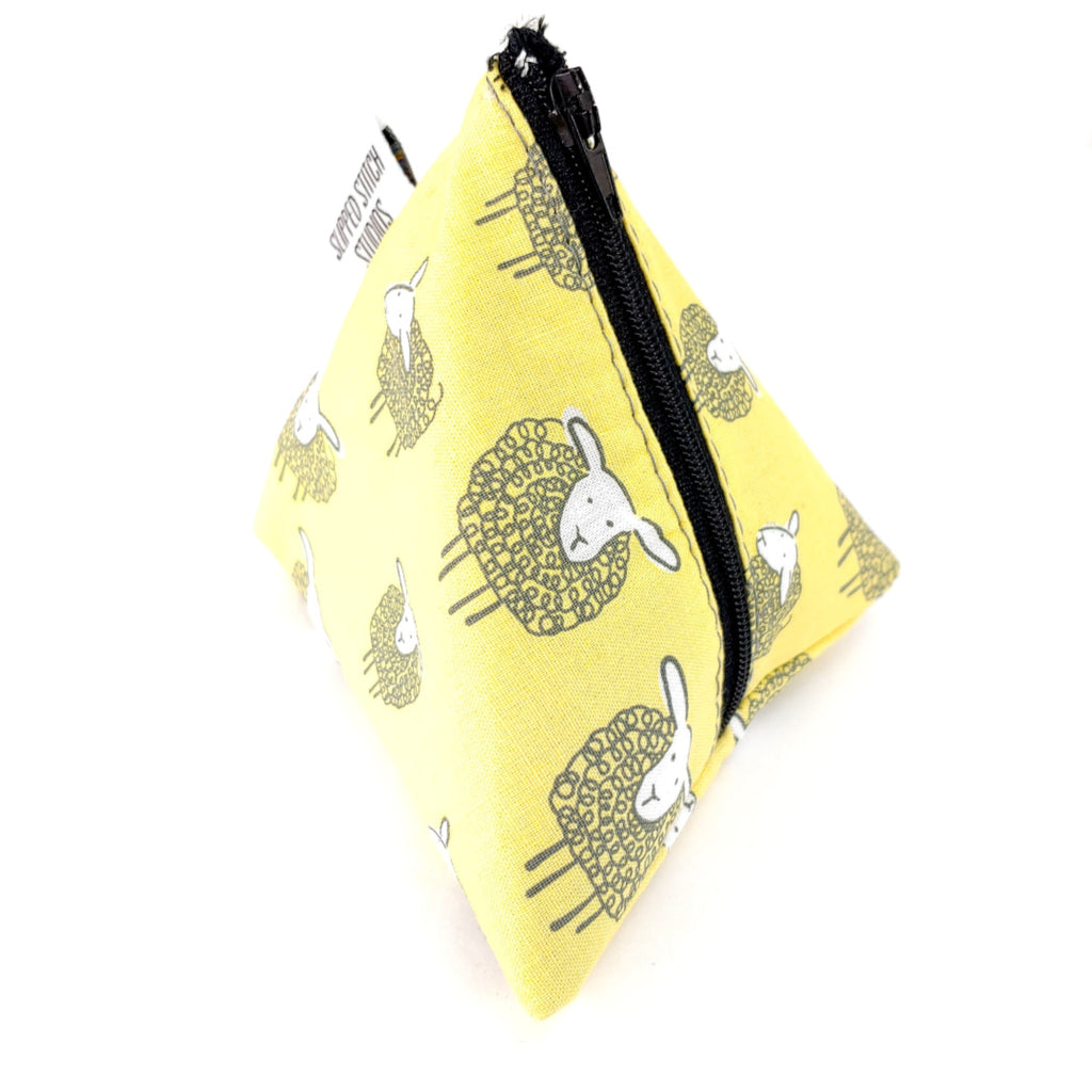 Sheep (yellow) </br> Triangle Zipper Notion Pouch:Triangle Zipper Notion Pouch,Slipped Stitch Studios:Slipped Stitch Studios
