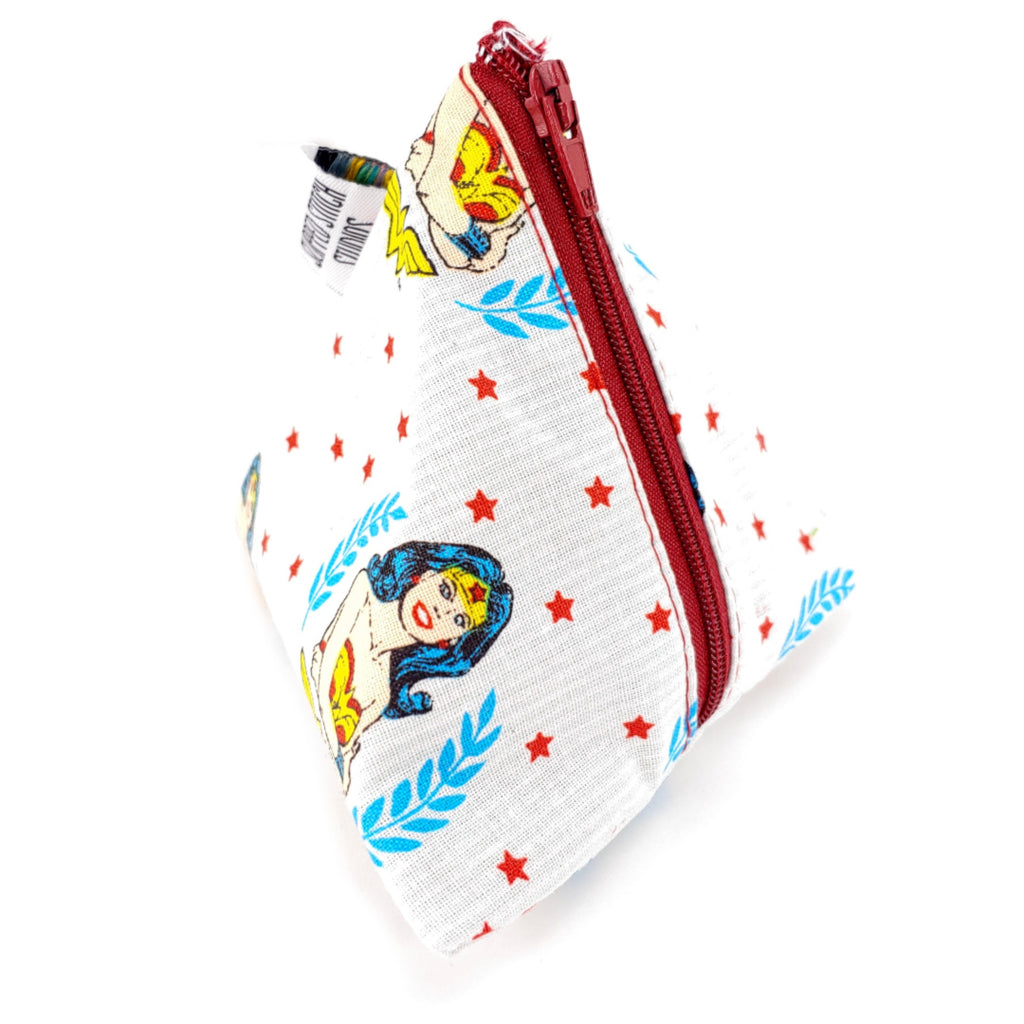 Wonder Woman </br> Triangle Zipper Notion Pouch:Triangle Zipper Notion Pouch,Slipped Stitch Studios:Slipped Stitch Studios