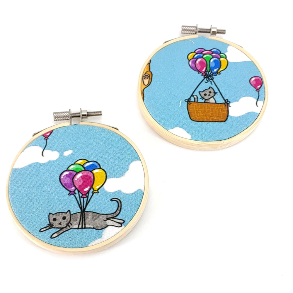 "Flying Kitties (Basket or Balloons) </br> Embroidery Hoop Art - 3.5"" diameter:Fabric,Slipped Stitch Studios:Slipped Stitch Studios"