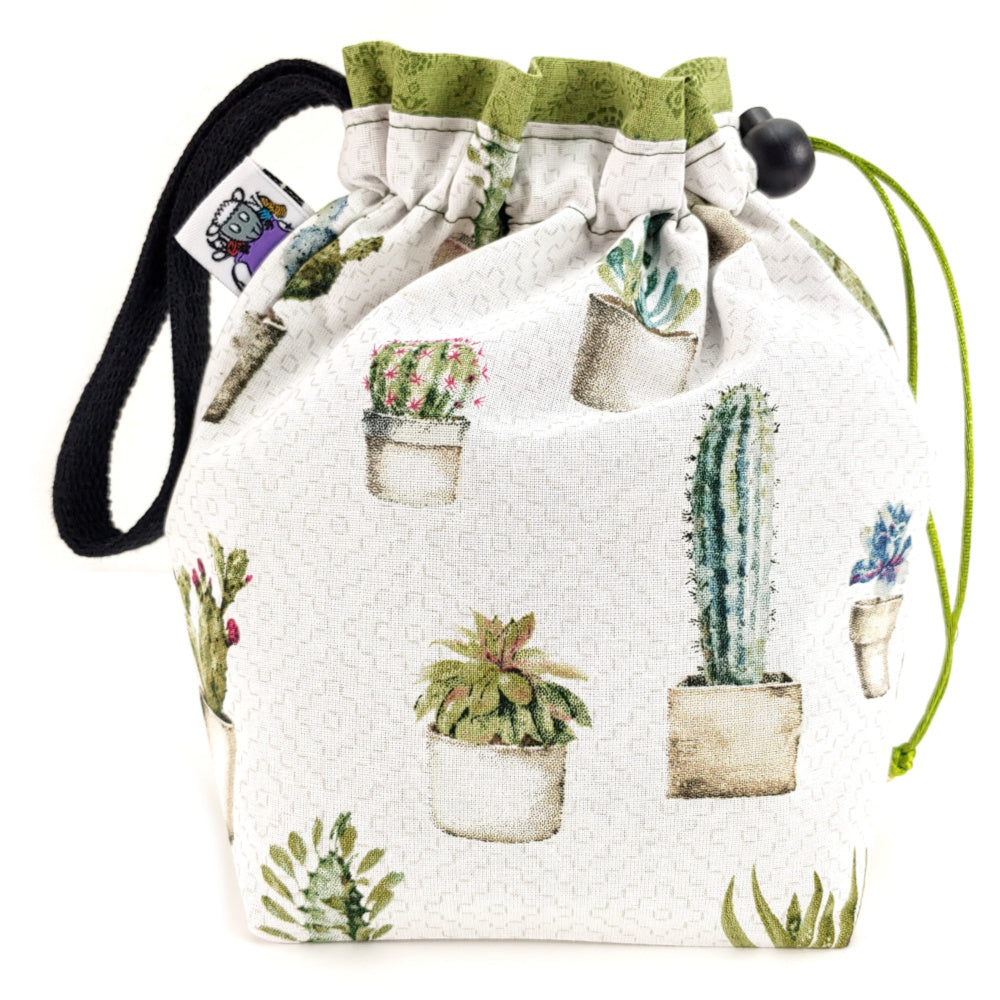 Painted Cactus </br> Small Project Bag:Small Project Bag,Slipped Stitch Studios:Slipped Stitch Studios