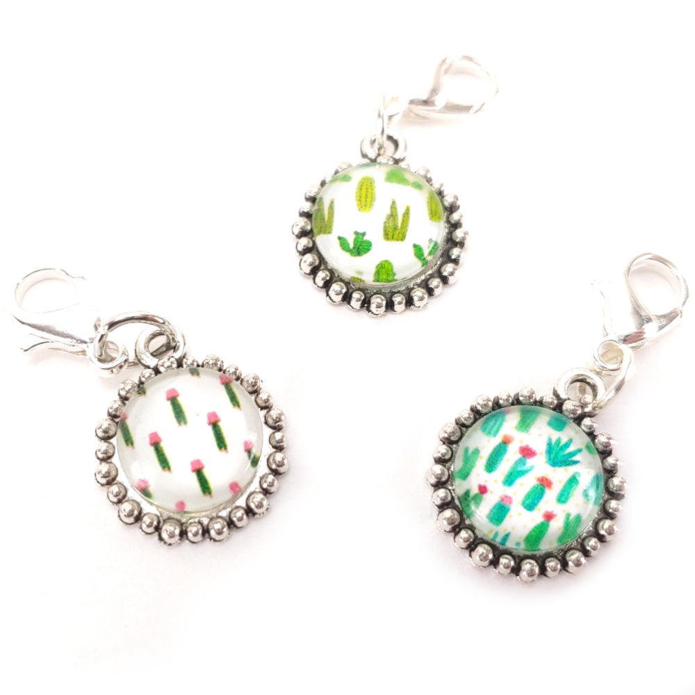 Painted Cactus Set B </br> Stitch Marker Set of 3:Stitch Markers,Slipped Stitch Studios:Slipped Stitch Studios