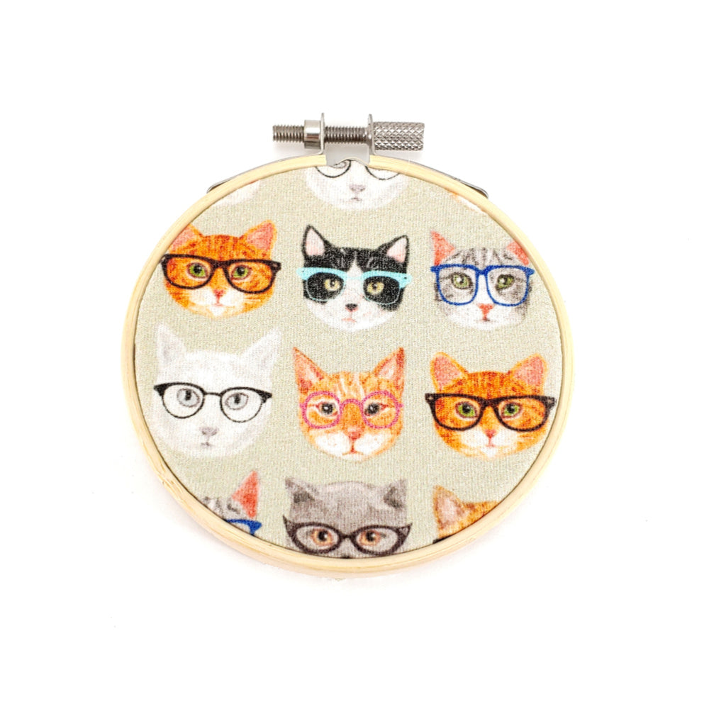 "Hipster Cats </br> Embroidery Hoop Art - 3.5"" diameter:Fabric,Slipped Stitch Studios:Slipped Stitch Studios"