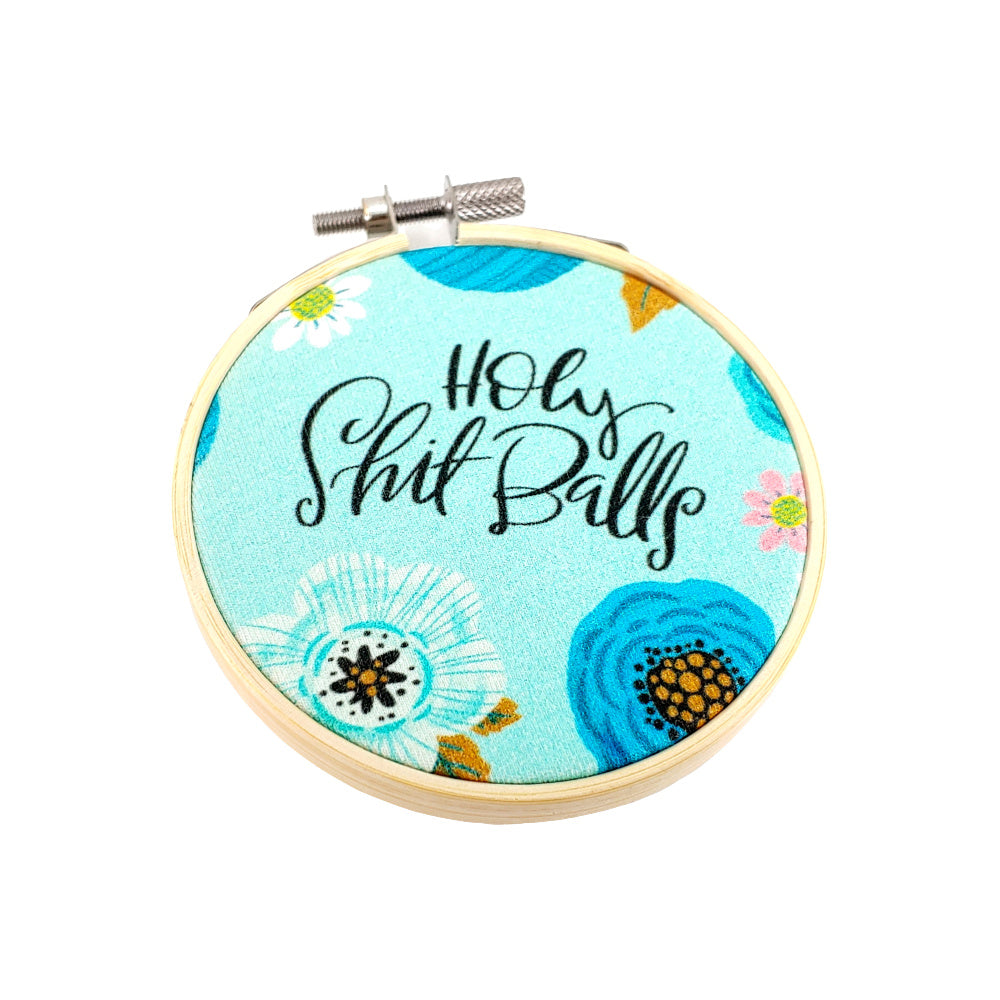 "Holy S* Balls </br> Embroidery Hoop Art - 3.5"" diameter:Fabric,Slipped Stitch Studios:Slipped Stitch Studios"