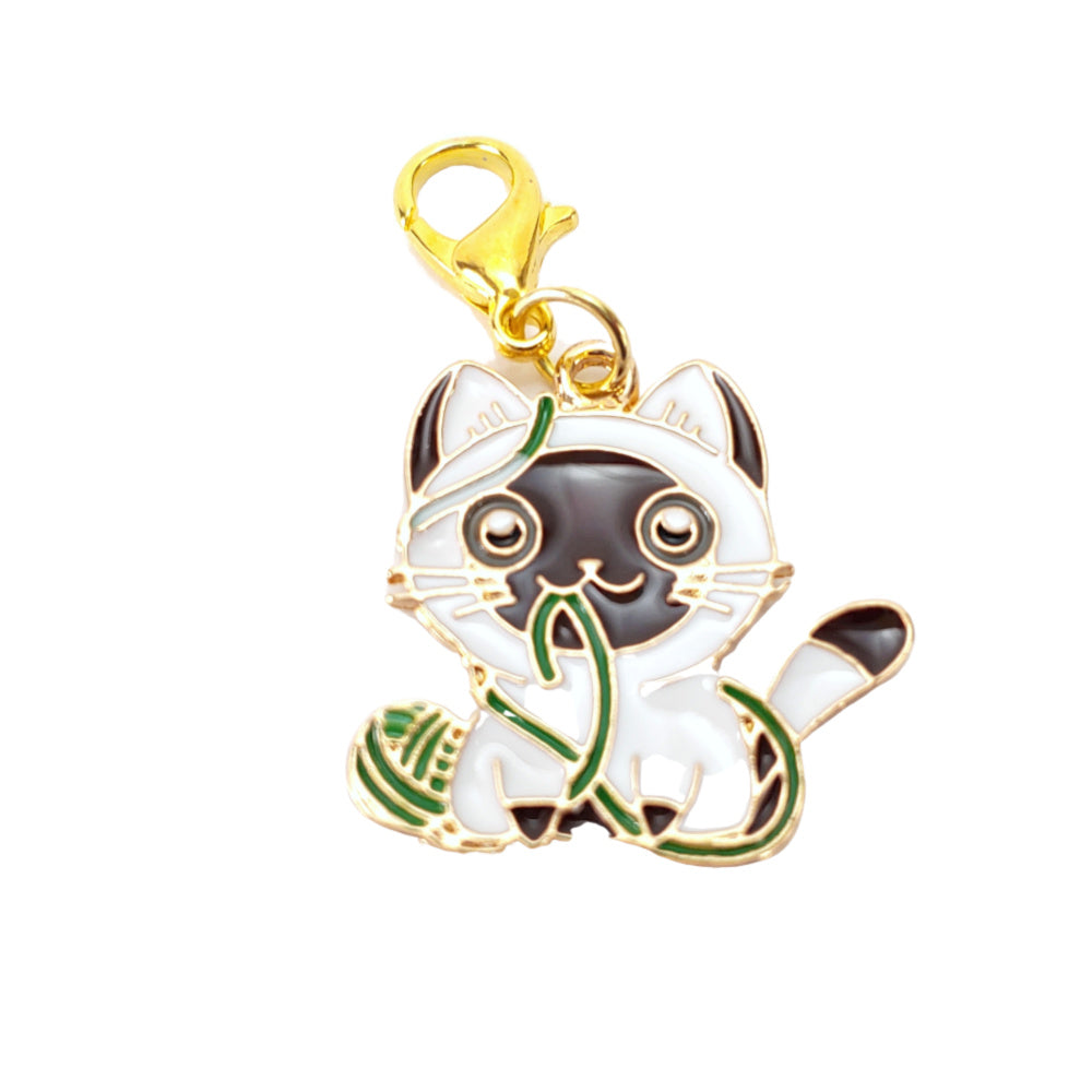 Kitty Cuteness </br> Stitch Marker - Single (Gold Clasp Only):Stitch Markers,Slipped Stitch Studios:Slipped Stitch Studios