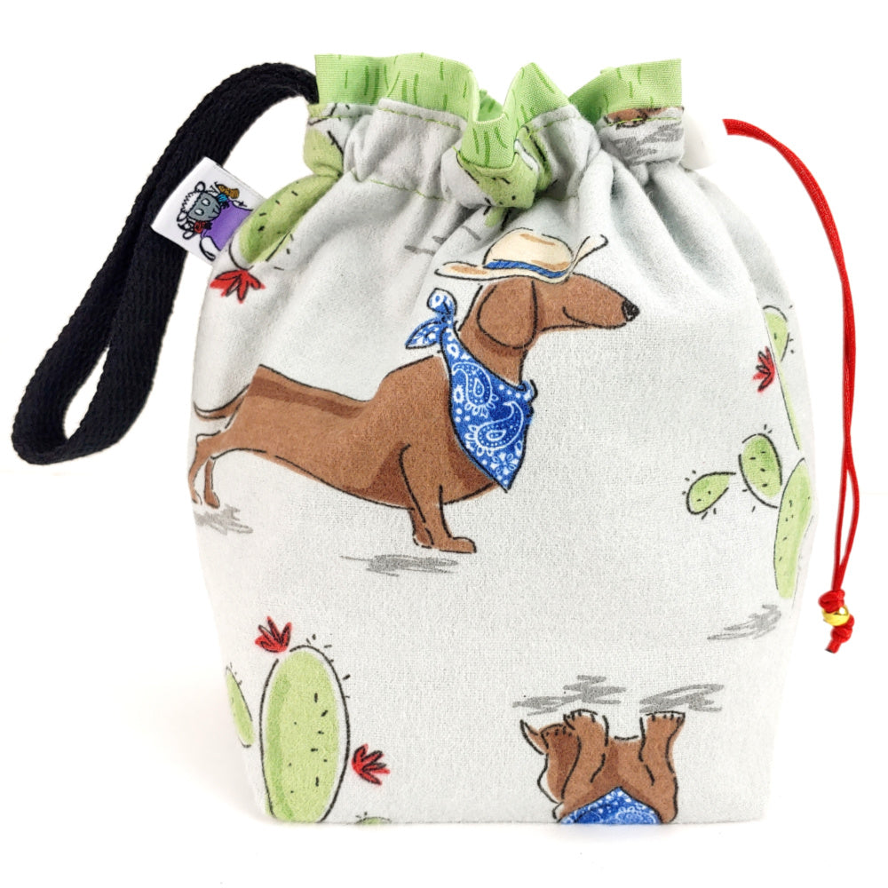 Get Along-lil-Doggie (Flannel) </br> Small Project Bag:Small Project Bag,Slipped Stitch Studios:Slipped Stitch Studios