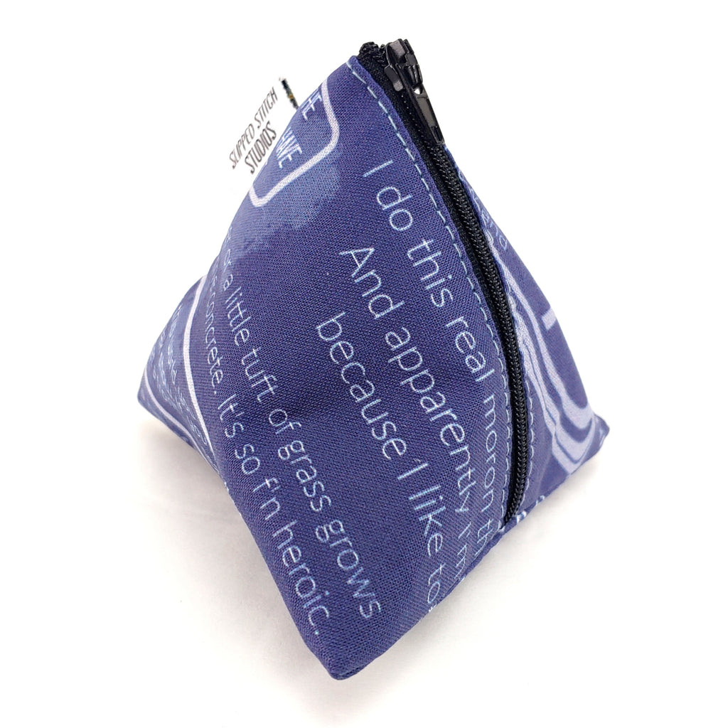 Carlin Logic (Clean) on Blue </br> Triangle Zipper Notion Pouch:Triangle Zipper Notion Pouch,Slipped Stitch Studios:Slipped Stitch Studios