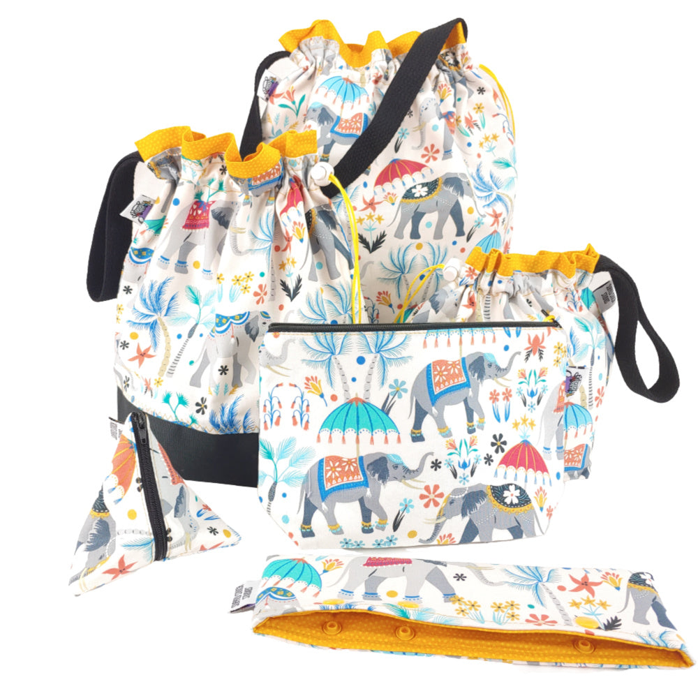 Elephants on Parade </br> Triangle Zipper Notion Pouch:Triangle Zipper Notion Pouch,Slipped Stitch Studios:Slipped Stitch Studios