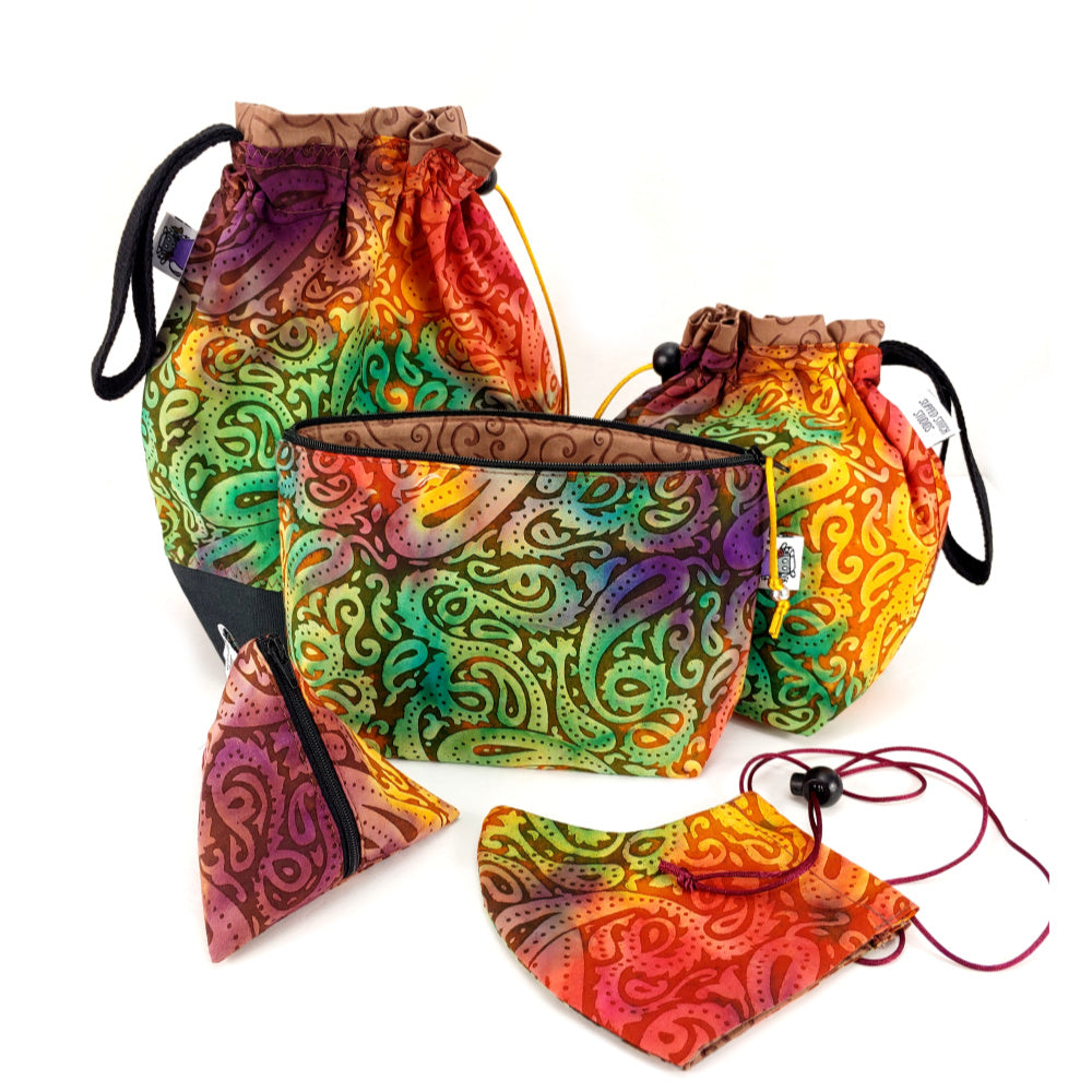 Paisley Batik </br> Triangle Zipper Notion Pouch:Triangle Zipper Notion Pouch,Slipped Stitch Studios:Slipped Stitch Studios
