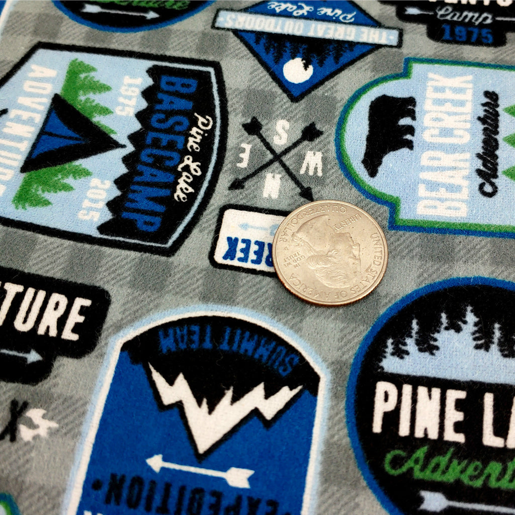 Camp Patches (flannel) </br> Designer Fabric - By the Yard