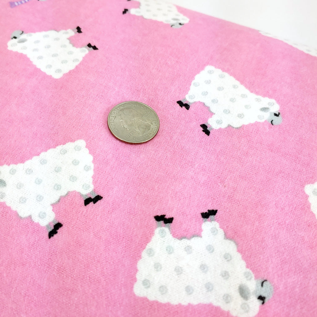 Sheep on Pink (Flannel) </br> Designer Fabric - By the Yard