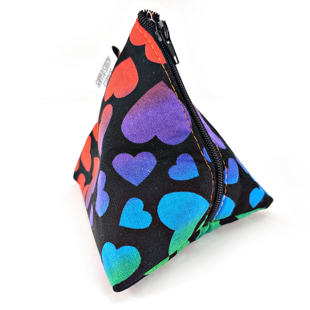 Rainbow Hearts </br> Triangle Zipper Notion Pouch