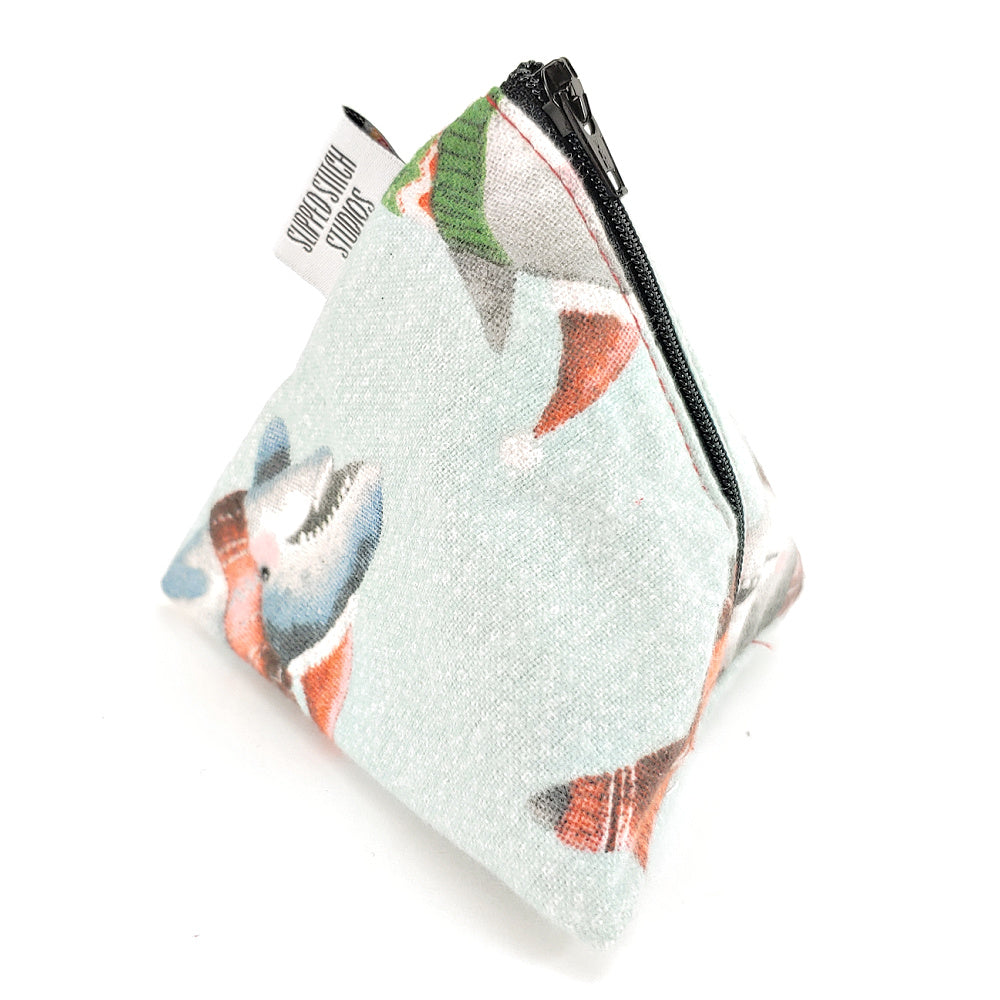 Sweater Sharks (flannel) </br> Triangle Zipper Notion Pouch