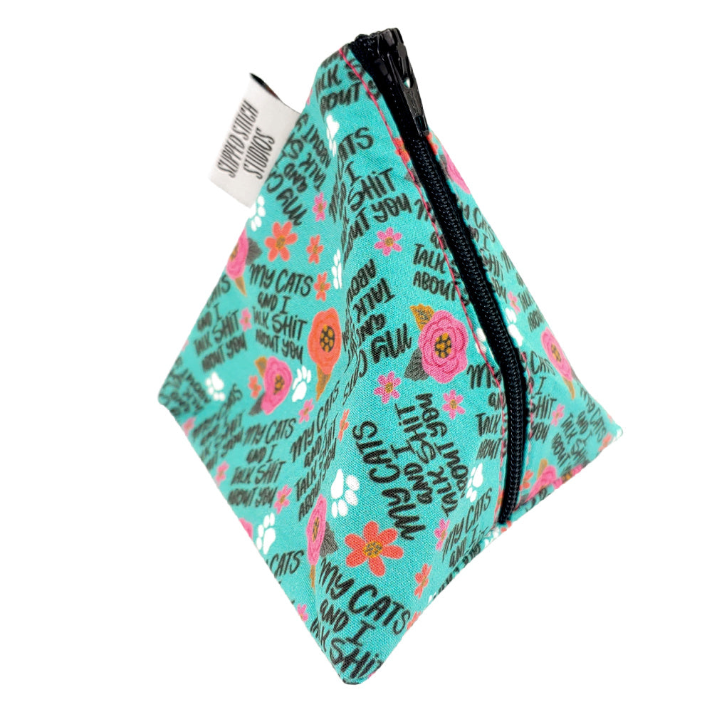 My Cats and I Talk </br> Triangle Zipper Notion Pouch