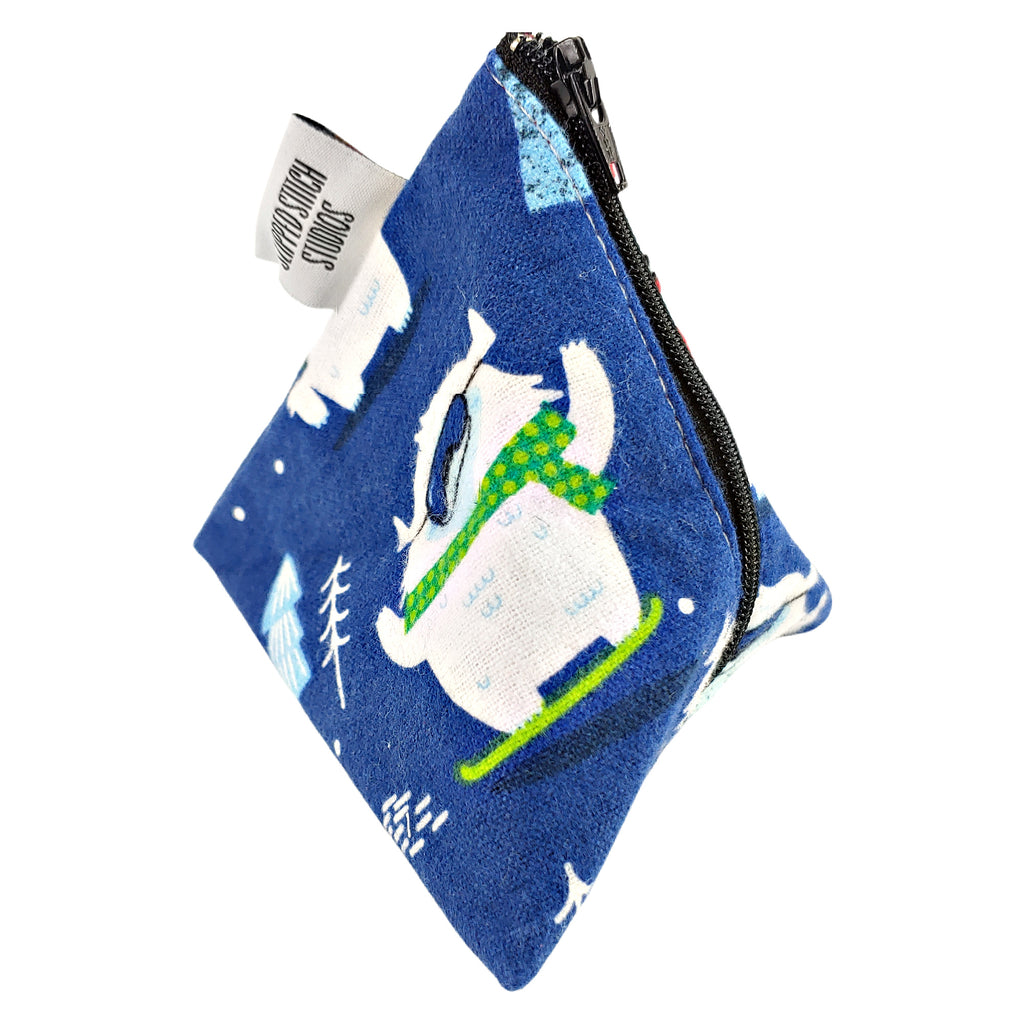 New Year, New Yeti (Flannel) </br> Triangle Zipper Notion Pouch