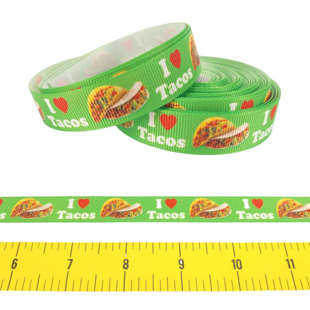 "I (Heart) Tacos </br> Grosgrain - 5/8"" - Ribbon by the Yard"
