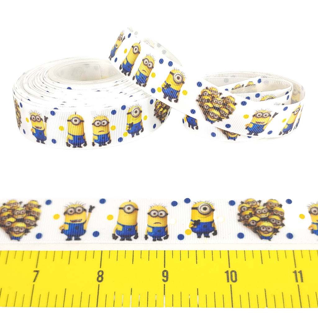 "Minions (Heart) </br> Grosgrain - 7/8""- Ribbon by the Yard"
