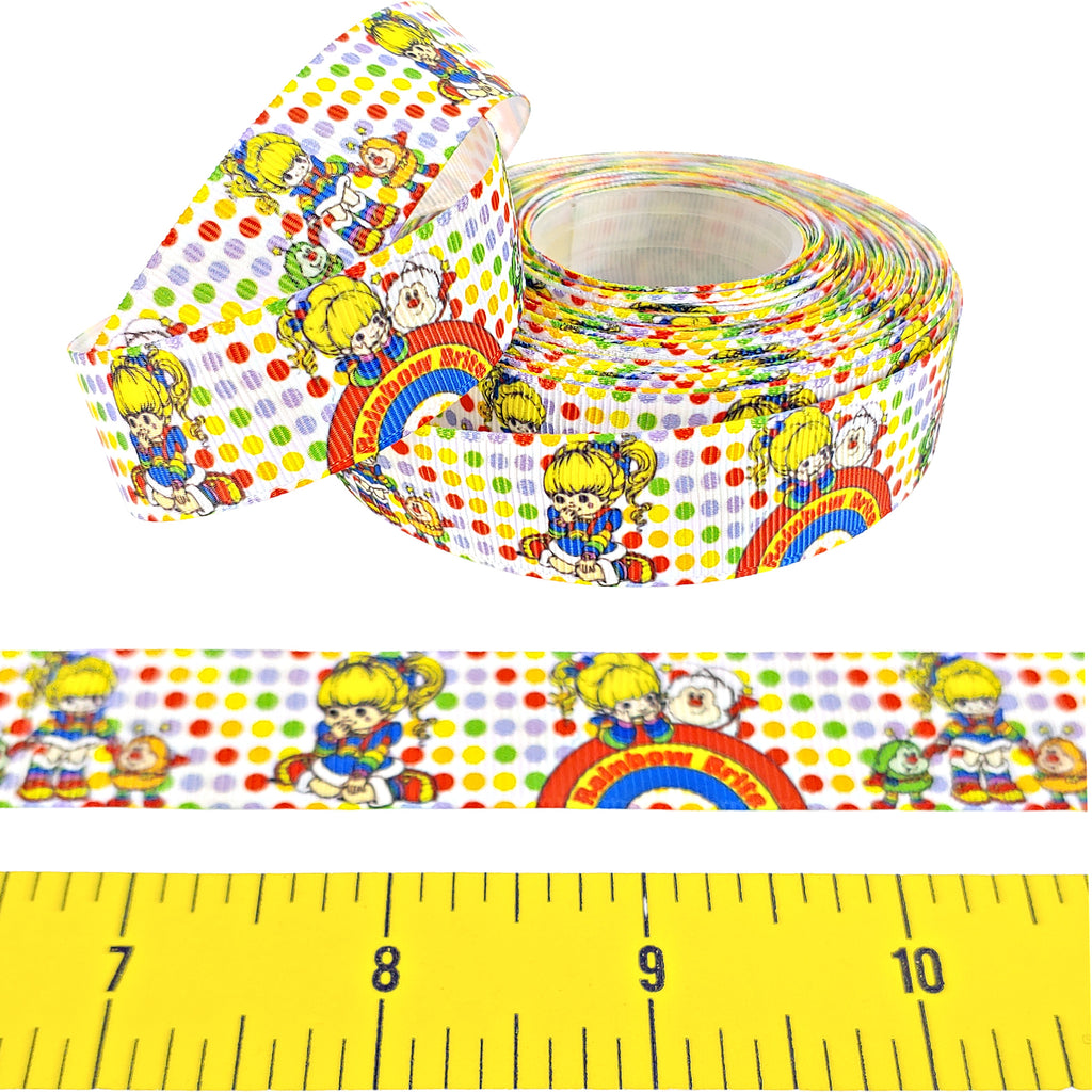 "Rainbow Brite </br> Grosgrain - 7/8""- Ribbon by the Yard"