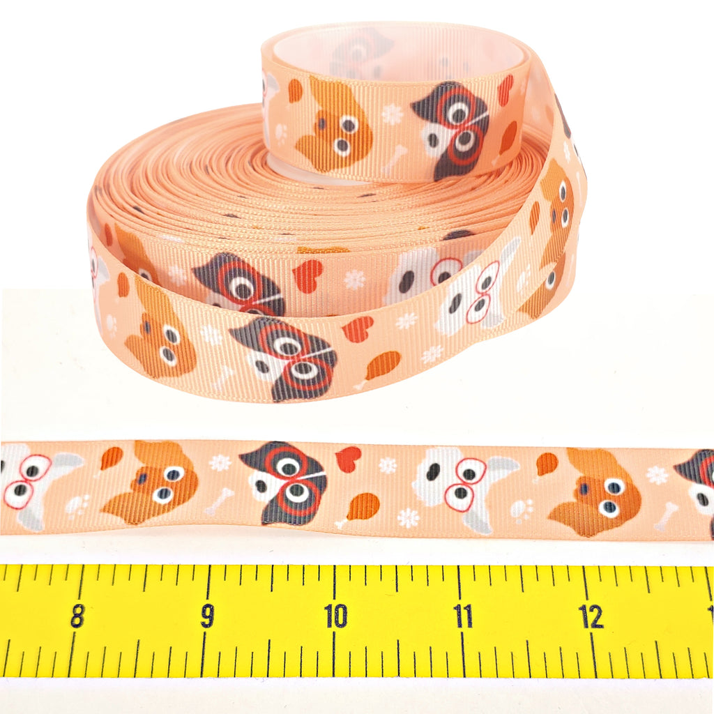 "Hipster Pups </br> Grosgrain - 7/8""- Ribbon by the Yard"