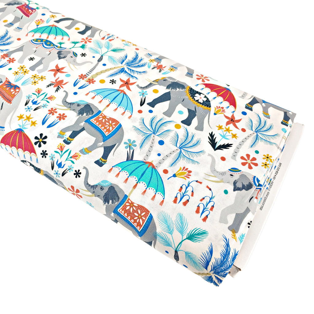 Elephants on Parade </br> Designer Fabric - By the Yard