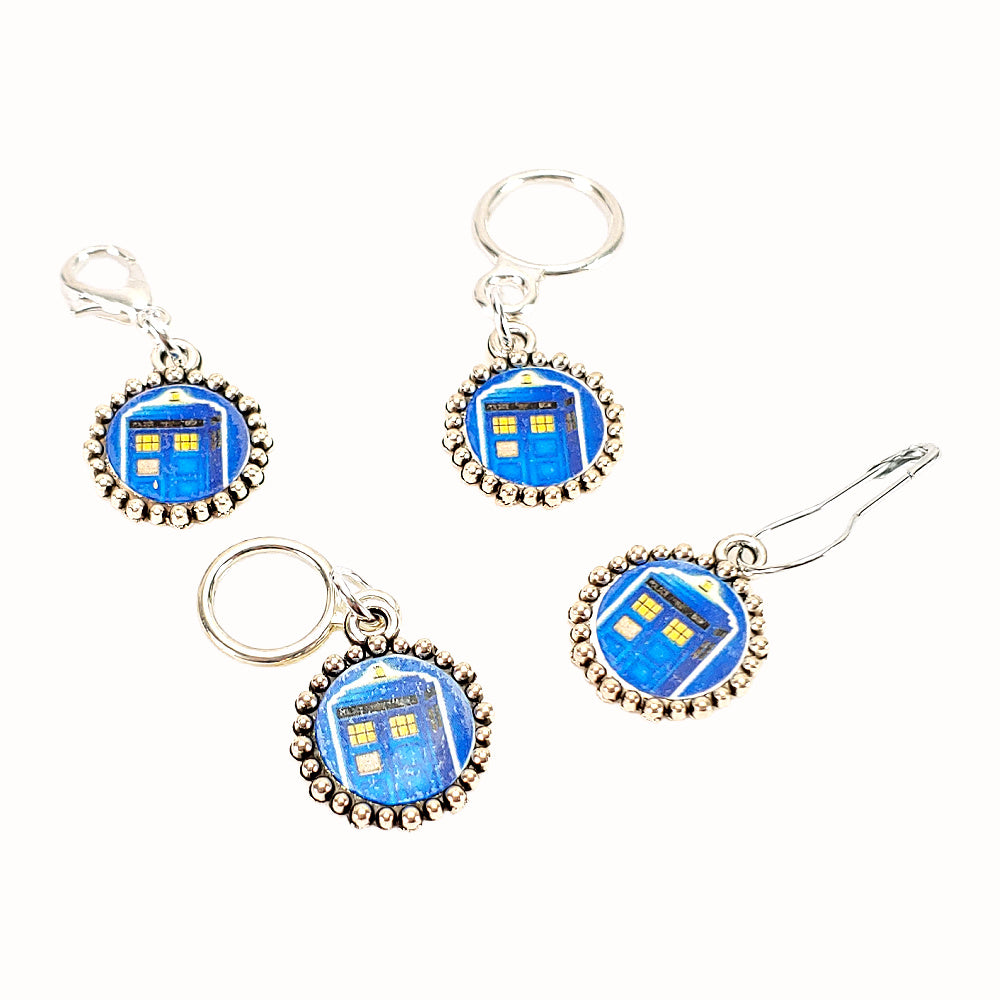 TARDIS (on royal blue) </br> Stitch Marker (Single)