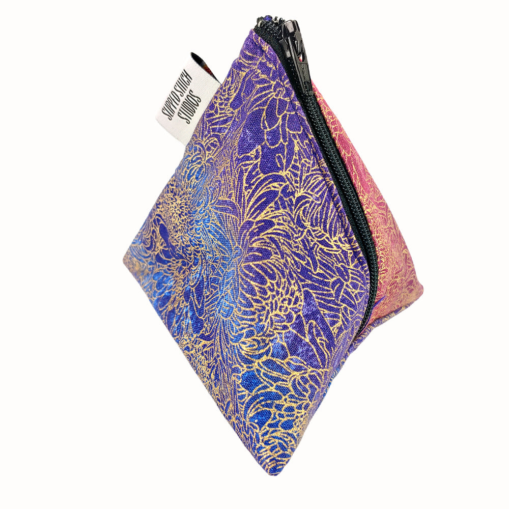 Floral Nebula </br> Triangle Zipper Notion Pouch