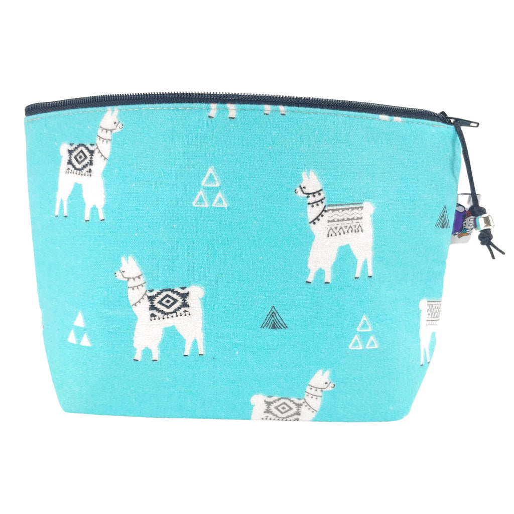 Turquoise Llama (Flannel) </br> Zipper Notion Pouch