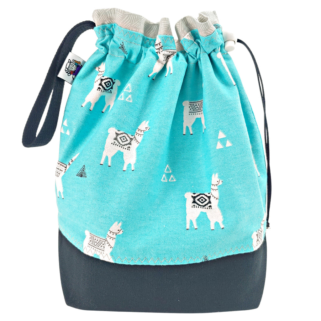 Turquoise Llama (Flannel) </br> Medium Project Bag