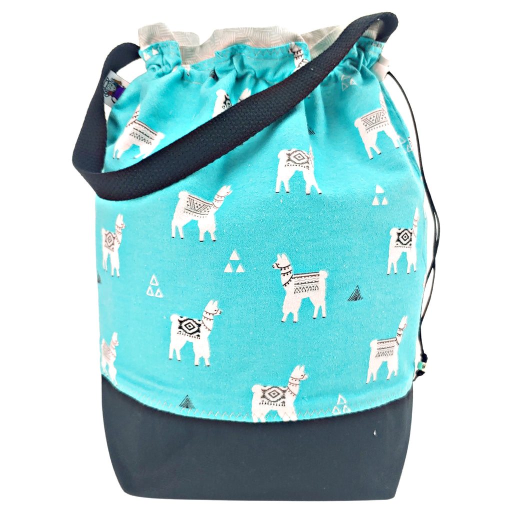 Turquoise Llama (Flannel) </br> Large Project Bag