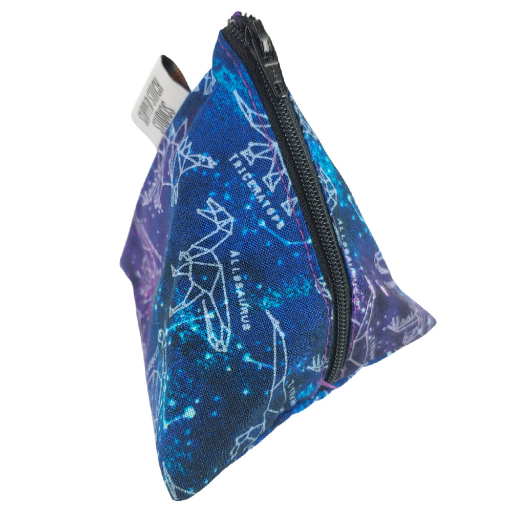 Dinosaurs in Space </br> Triangle Zipper Notion Pouch