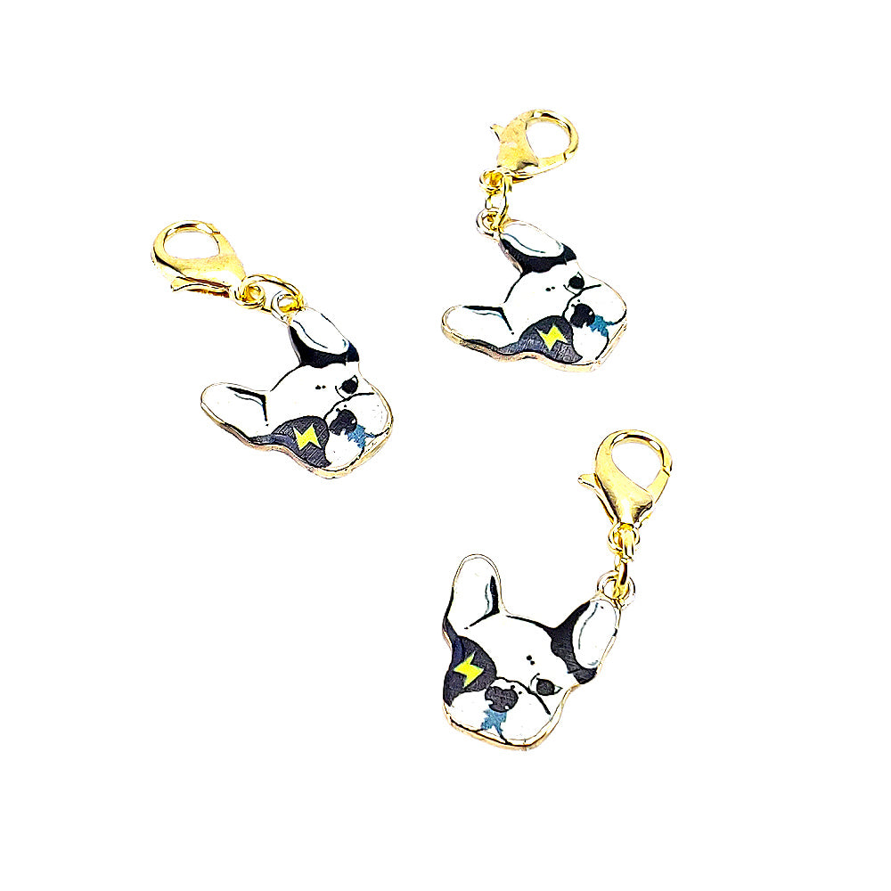Boston Terrier Cool Pup (Gold Clasp Only) </br> Stitch Marker (Single)