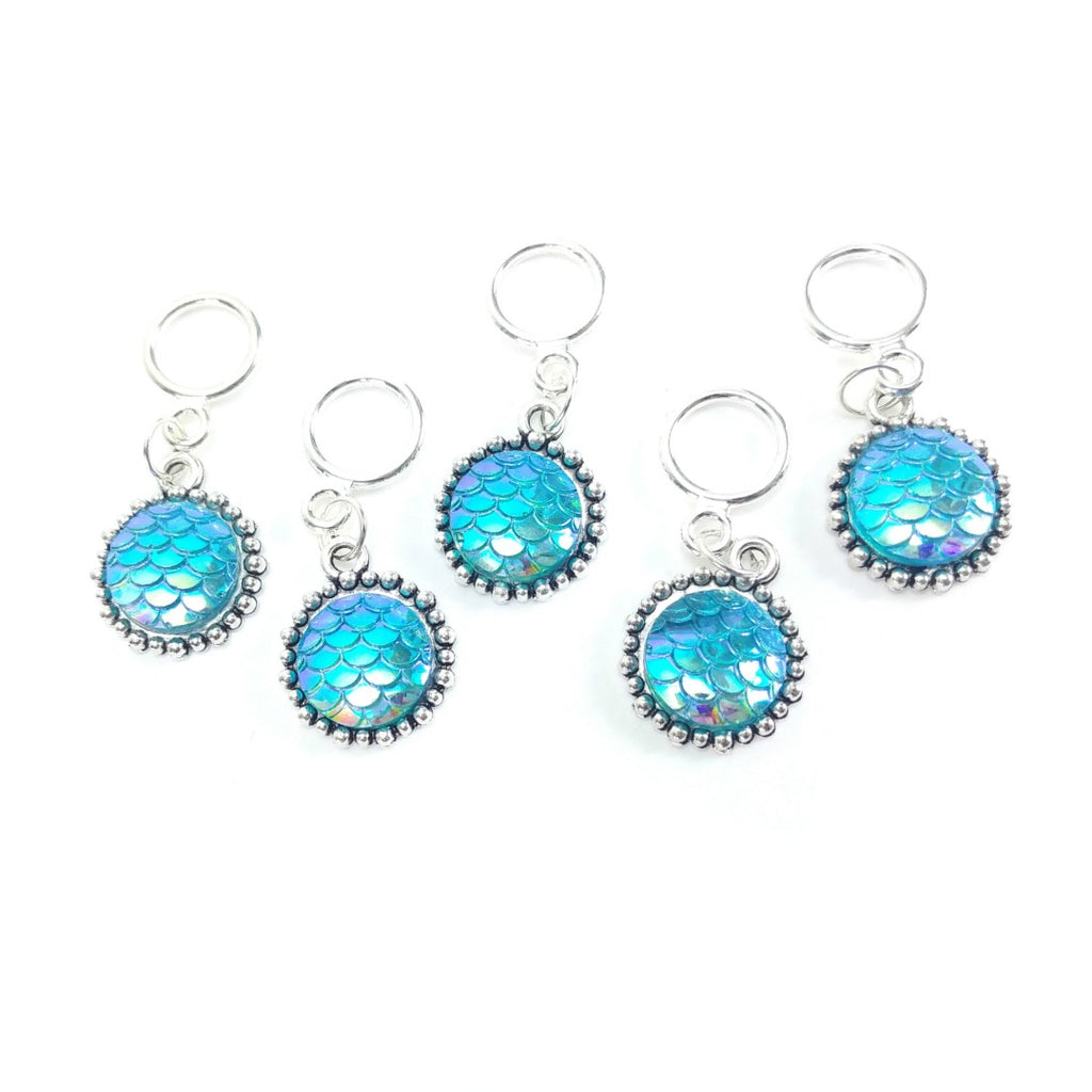 Aqua Mermaid Scales </br> Stitch Markers </br> Set of 5:Stitch Markers,Slipped Stitch Studios:Slipped Stitch Studios