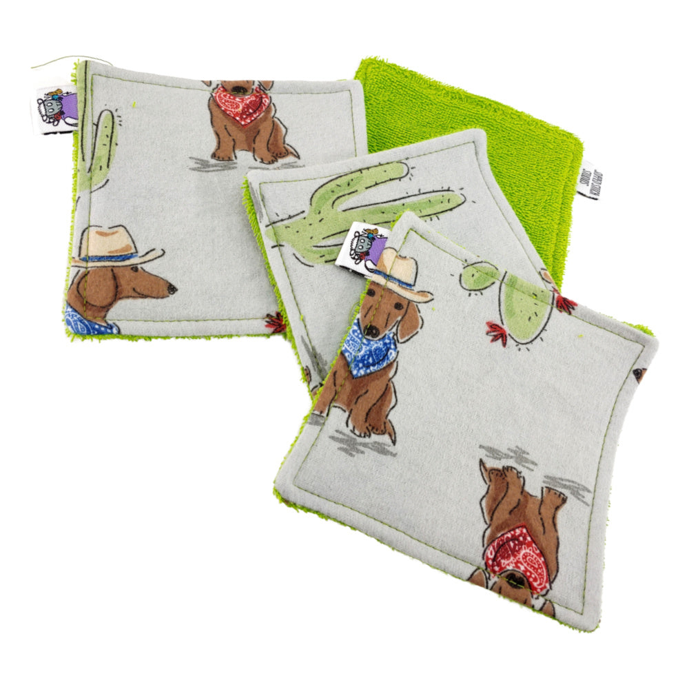Get a Long lil Doggie (Flannel)- Victory Rags (Towelette) - Pack of 2 or 4:RAGS,Slipped Stitch Studios:Slipped Stitch Studios
