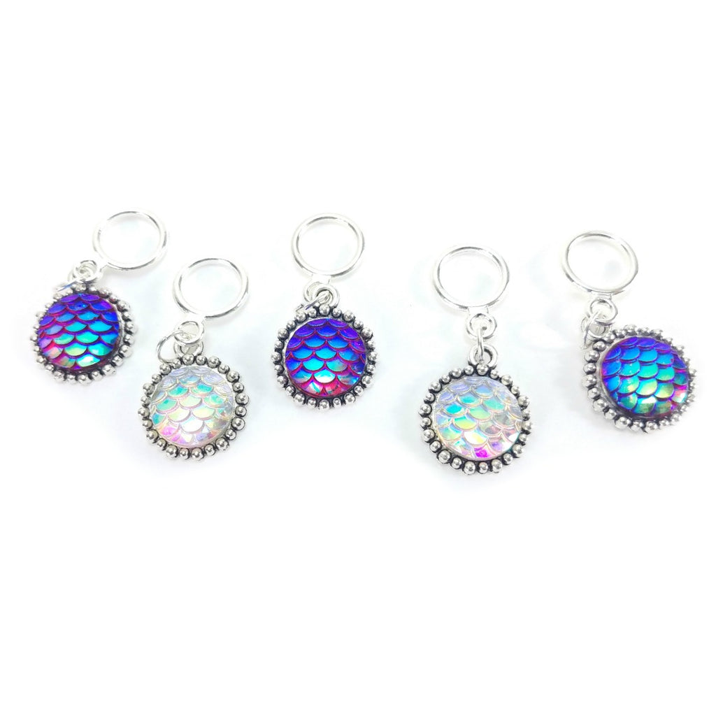 Hidden Pearl Mermaid Scales </br> Stitch Markers </br> Set of 5:Stitch Markers,Slipped Stitch Studios:Slipped Stitch Studios