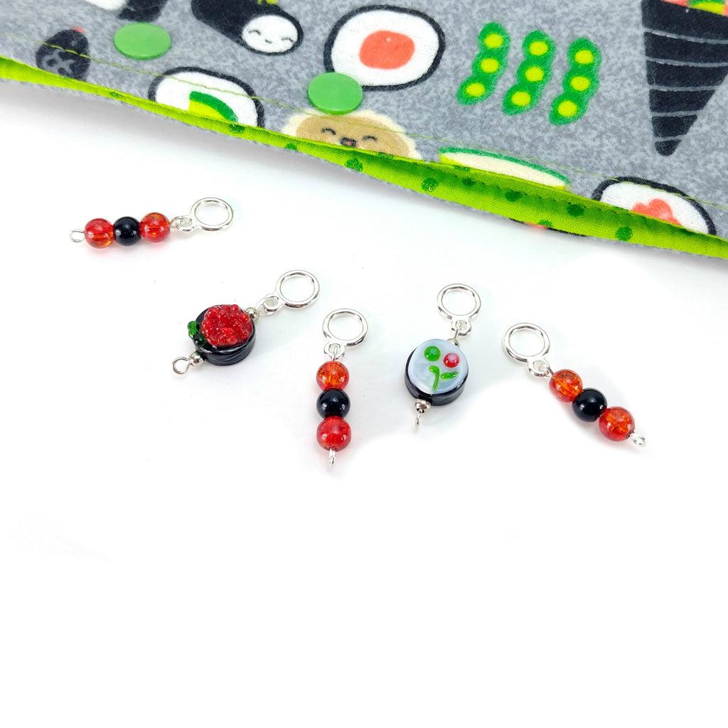 Sushi Combo 1 </br> Stitch Markers </br> Set of 5:Stitch Markers,Slipped Stitch Studios:Slipped Stitch Studios