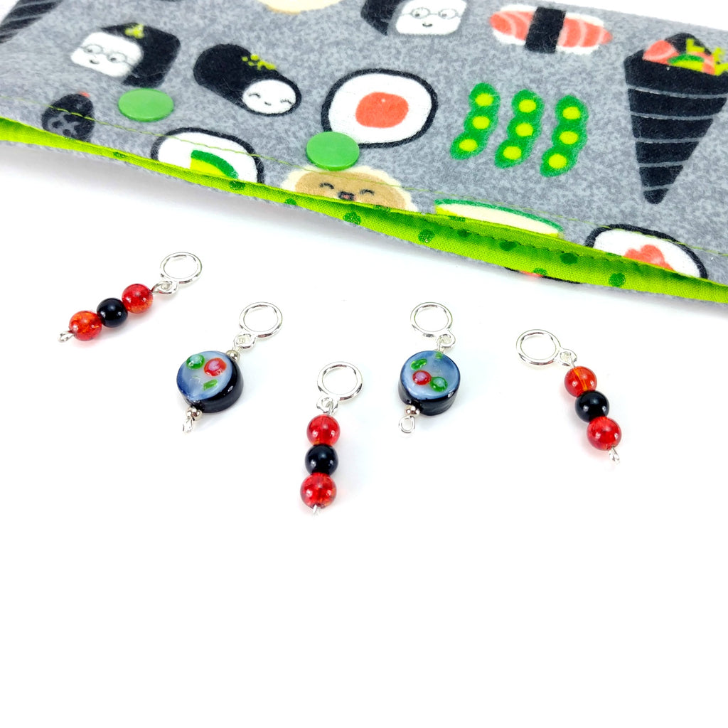 Sushi Combo 2 </br> Stitch Markers </br> Set of 5:Stitch Markers,Slipped Stitch Studios:Slipped Stitch Studios