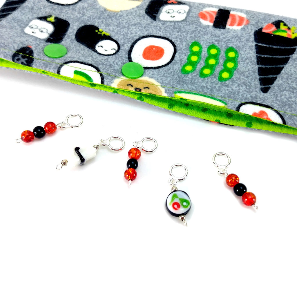 Sushi Combo 3 </br> Stitch Markers </br> Set of 5:Stitch Markers,Slipped Stitch Studios:Slipped Stitch Studios