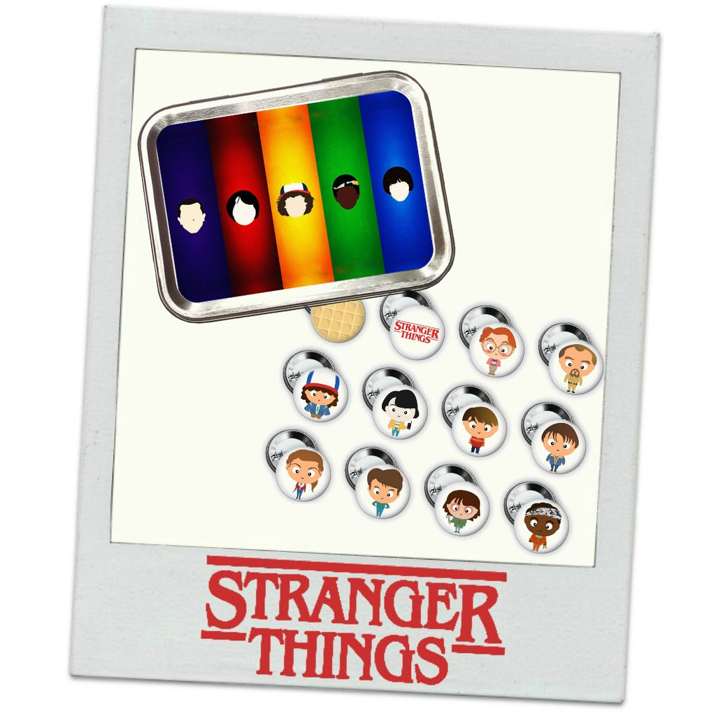 Stranger Things Buttons & Tin </br> Pack 1 - Set of 12 </br> Pre Order:Pins,Slipped Stitch Studios:Slipped Stitch Studios