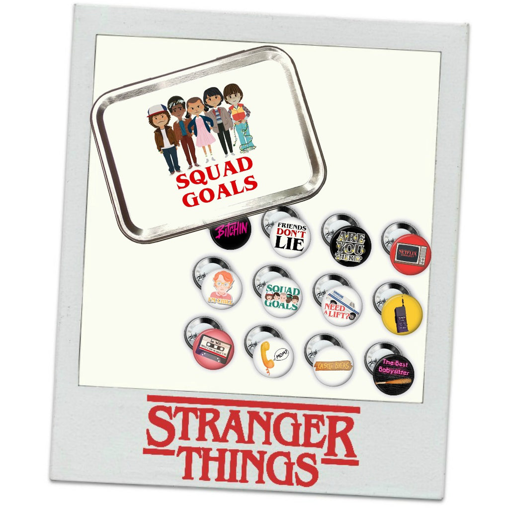 Stranger Things Buttons & Tin </br> Pack 2 - Set of 12 </br> Pre Order:Pins,Slipped Stitch Studios:Slipped Stitch Studios