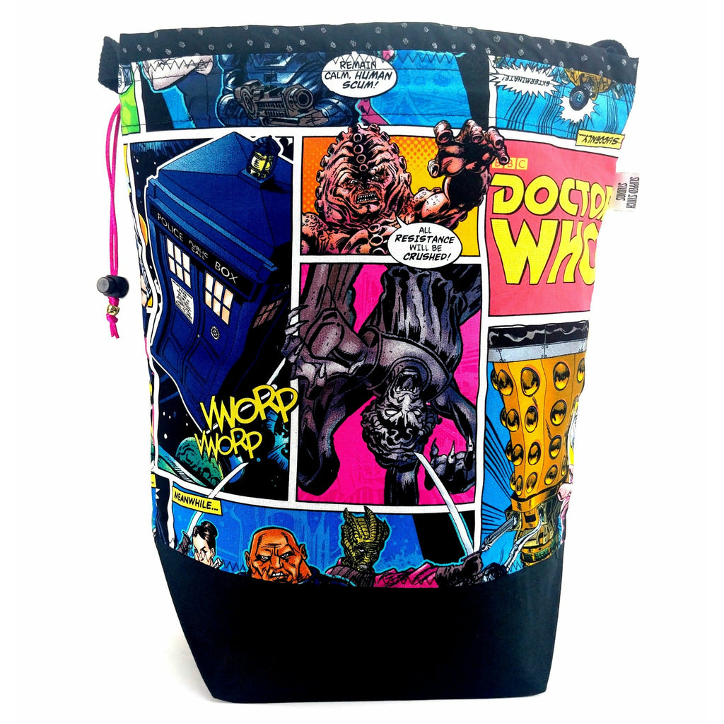 Doctor Who Villains Comic - 3 </br> Large Project Bag:Large Project Bag,Slipped Stitch Studios:Slipped Stitch Studios