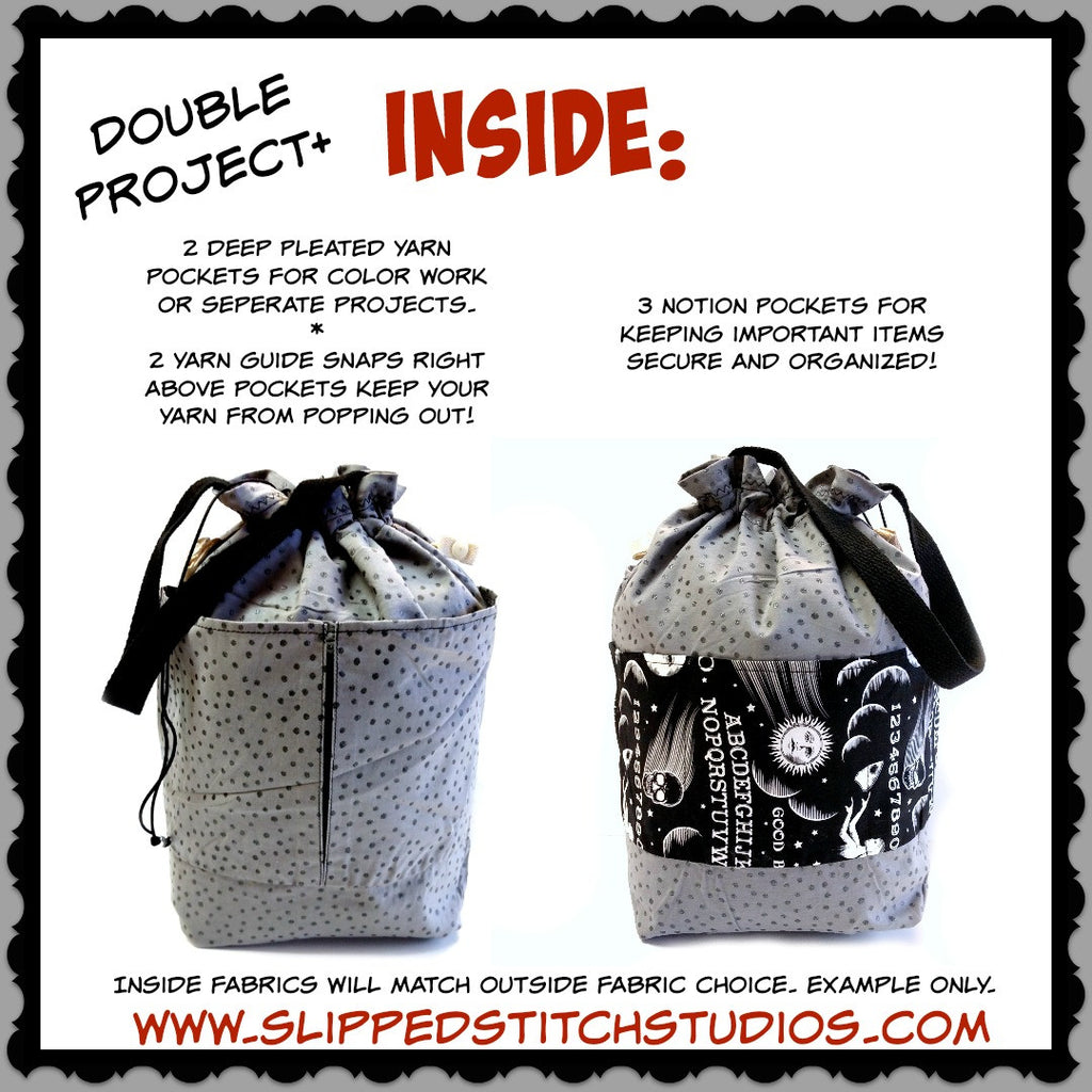 Spooked </br> Large Project Bag:Large Project Bag,Slipped Stitch Studios:Slipped Stitch Studios