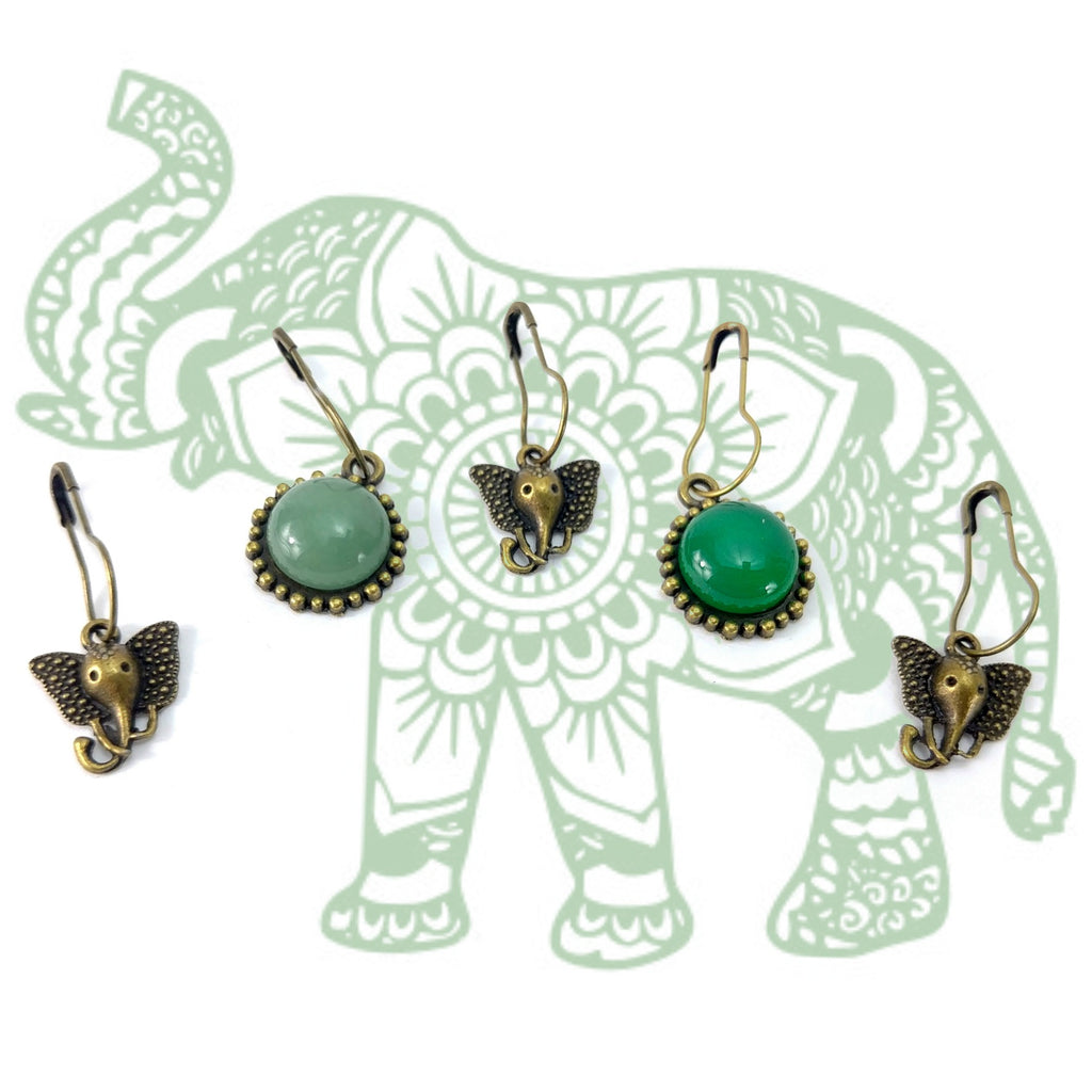 Jade Ganesha </br> Stitch Markers </br> Set of 5:Stitch Markers,Slipped Stitch Studios:Slipped Stitch Studios