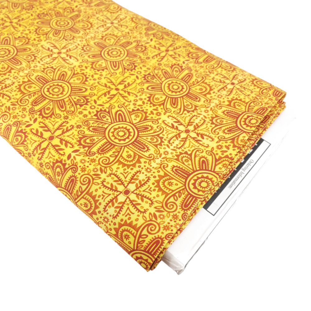 Mandala (yellow) </br> Designer Fabric - By the Yard