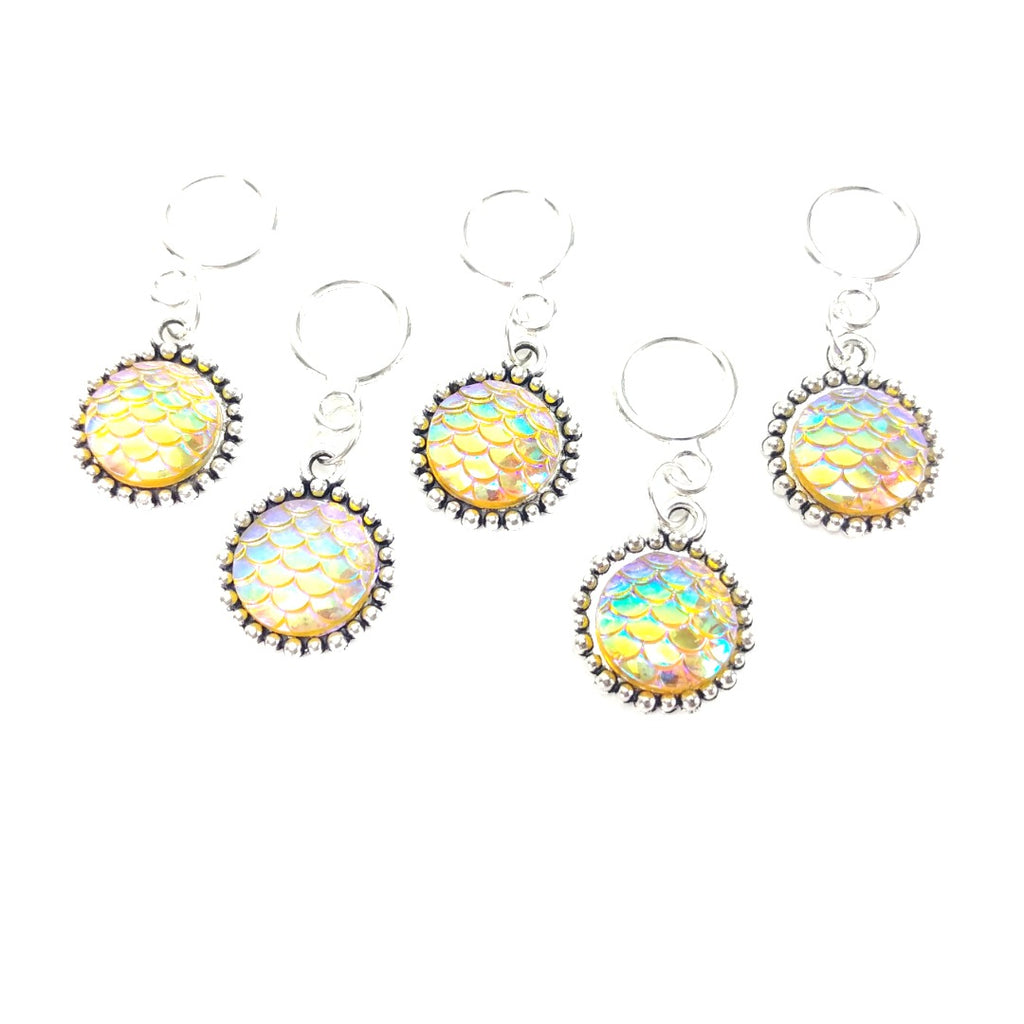 Sunrise Mermaid Scales </br> Stitch Markers </br> Set of 5:Stitch Markers,Slipped Stitch Studios:Slipped Stitch Studios