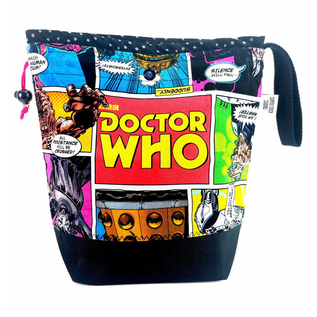 Doctor Who Villains Comic - 3 </br> New* Medium Project Bag:Medium Project Bag,Slipped Stitch Studios:Slipped Stitch Studios