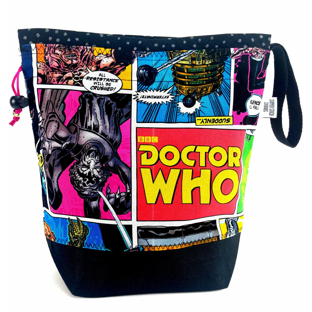 Doctor Who Villains Comic - 5 </br> New* Medium Project Bag:Medium Project Bag,Slipped Stitch Studios:Slipped Stitch Studios