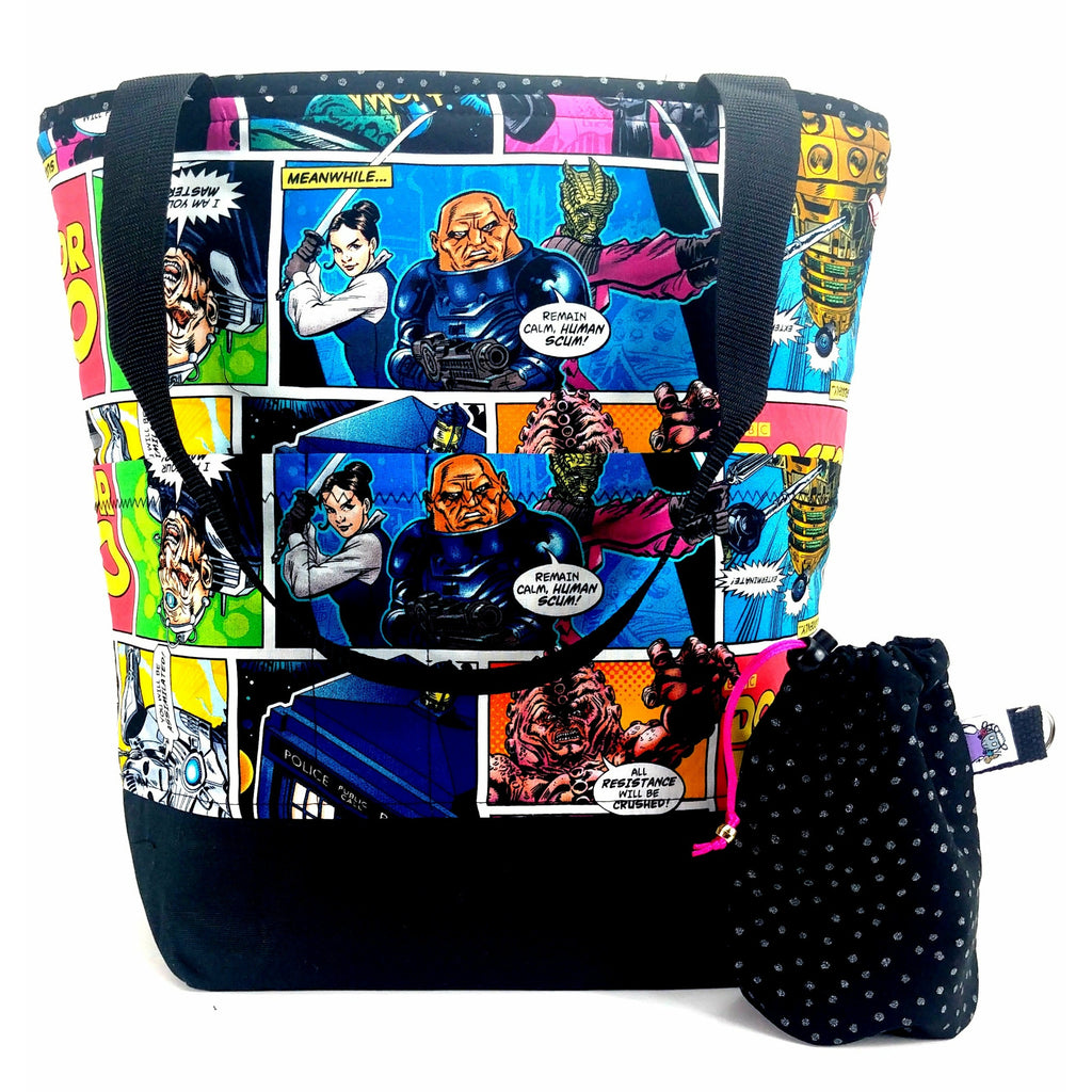 Doctor Who Villains Comic - 2 </br> XL Project Bag </br> Studio Tote & Tot:XL Project Bag,Slipped Stitch Studios:Slipped Stitch Studios