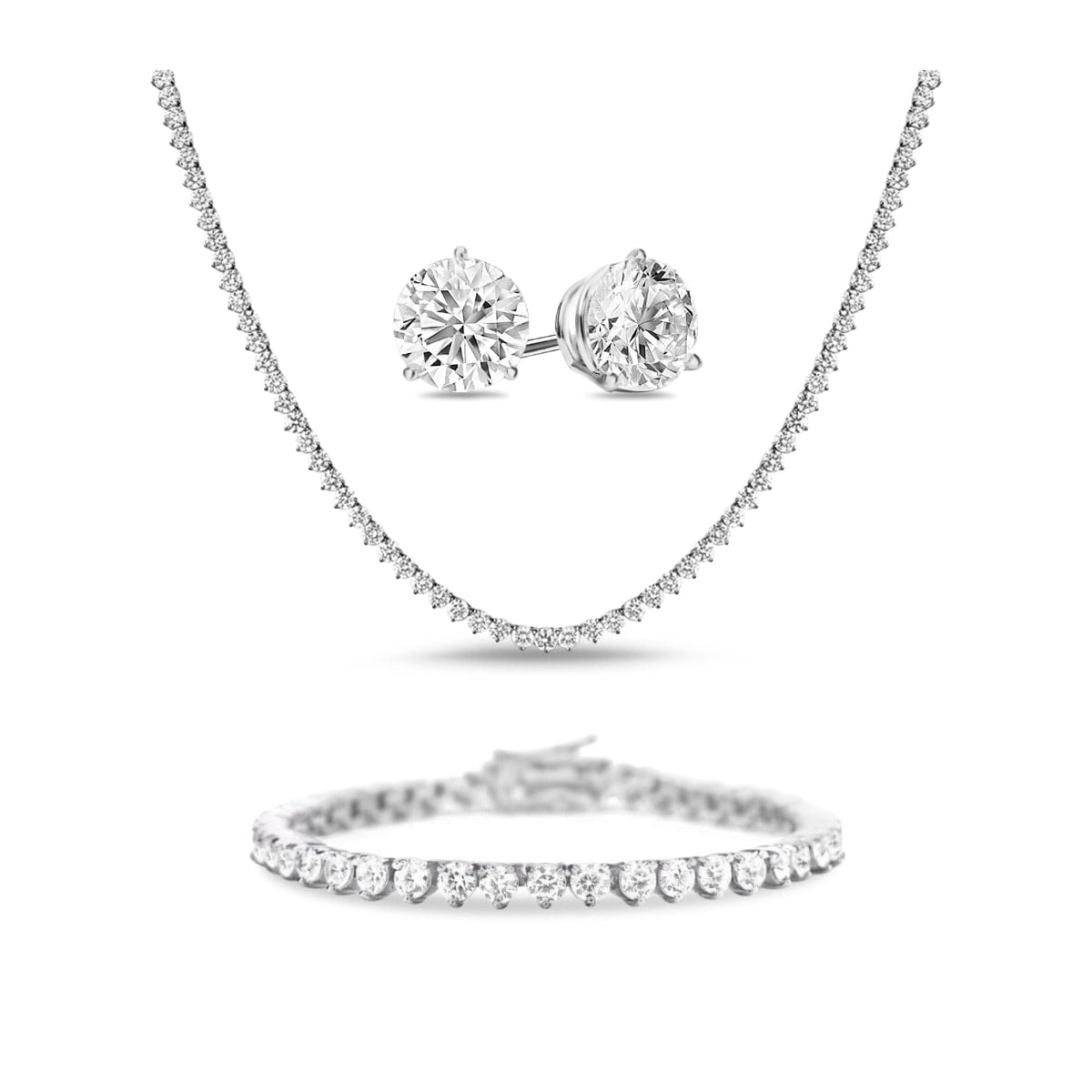 [PROMO BUNDLE] Vivere 3 Prong Necklace Bracelet Earrings Diamond Set