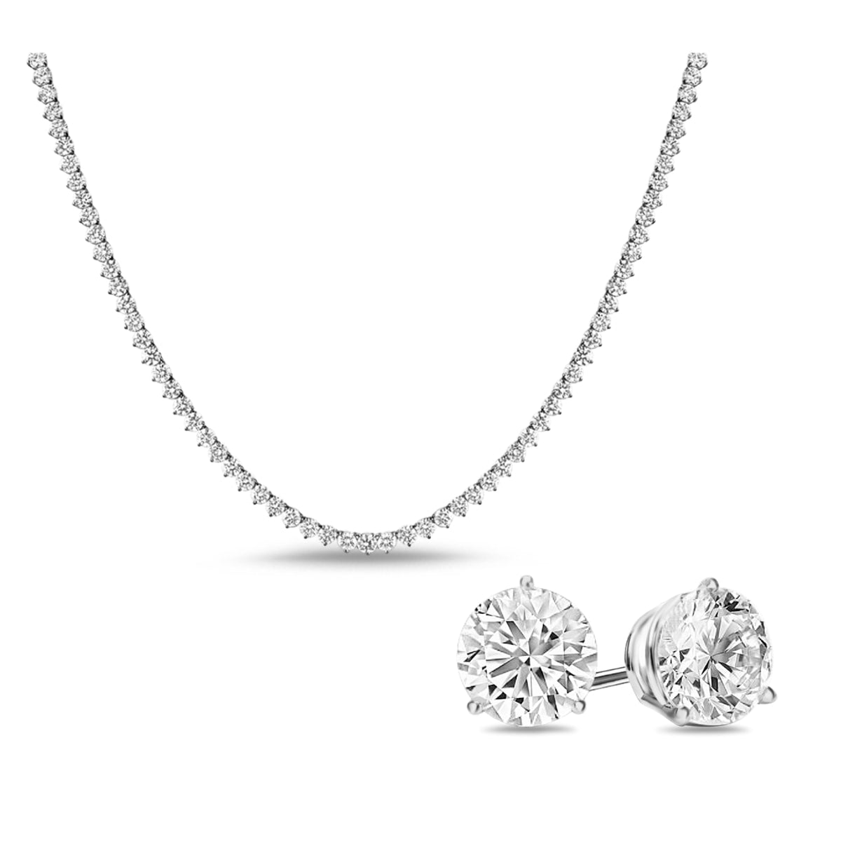 [PROMO BUNDLE] Vivere 3 Prong Necklace Earrings Diamond Set