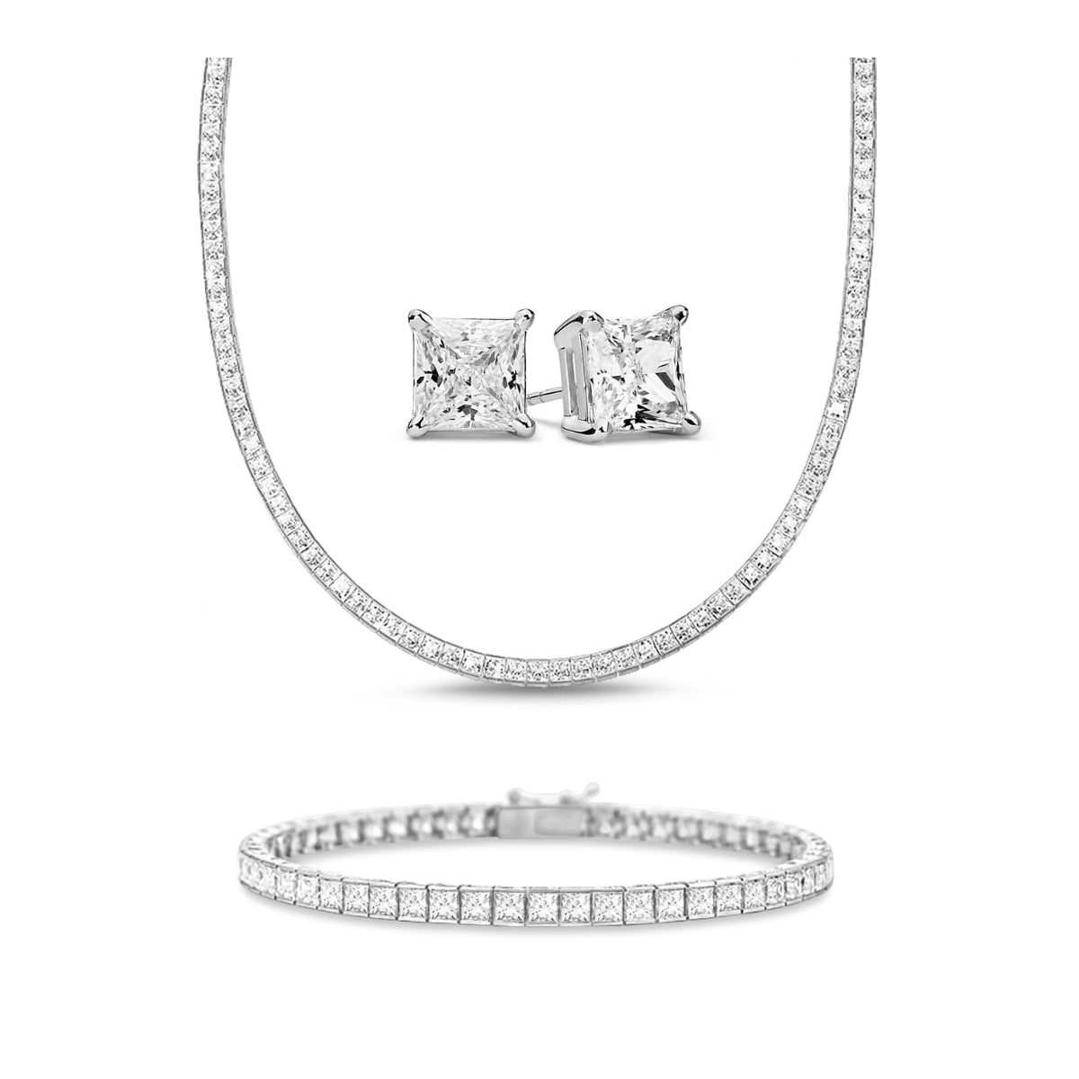 [PROMO SET] Hariette Princess Necklace Bracelet Earrings Diamond Set