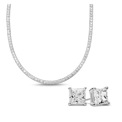 [PROMO SET] Hariette Princess Necklace Earrings Diamond Set